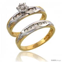 14k Gold 2-Piece Diamond Engagement Ring Set w/ Rhodium Accent, w/ 0.30 Carat Brilliant Cut Diamonds, 1/8 in. (3.5mm) wide