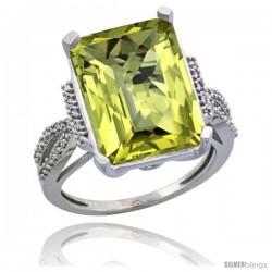 14k White Gold Diamond Lemon Quartz Ring 12 ct Emerald Shape 16x12 Stone 3/4 in wide