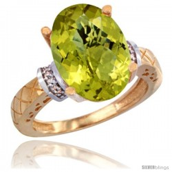 14k Yellow Gold Diamond Lemon Quartz Ring 5.5 ct Oval 14x10 Stone