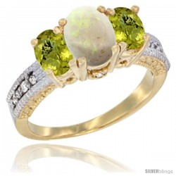 14k Yellow Gold Ladies Oval Natural Opal 3-Stone Ring with Lemon Quartz Sides Diamond Accent