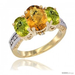 14K Yellow Gold Ladies 3-Stone Oval Natural Whisky Quartz Ring with Lemon Quartz Sides Diamond Accent