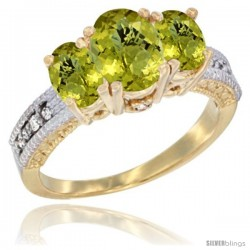 14k Yellow Gold Ladies Oval Natural Lemon Quartz 3-Stone Ring Diamond Accent