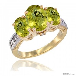 14K Yellow Gold Ladies 3-Stone Oval Natural Lemon Quartz Ring Diamond Accent