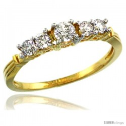 14k Gold 5-Stone Diamond Ring w/ 0.47 Carat Brilliant Cut ( H-I Color SI1 Clarity ) Diamonds, 1/8 in. (3.5mm) wide