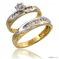 14k Gold 2-Piece Diamond Ring Set w/ Rhodium Accent ( Engagement Ring & Man's Wedding Band ), w/ 0.32 Carat Brilliant Cut
