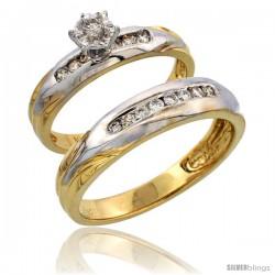 14k Gold 2-Piece Diamond Ring Set w/ Rhodium Accent ( Engagement Ring & Man's Wedding Band ), w/ 0.32 Carat Brilliant Cut