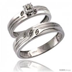 14k White Gold 2-Pc Diamond Ring Set (4.5mm Engagement Ring & 5mm Man's Wedding Band), w/ 0.056 Carat Brilliant Cut Diamonds