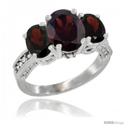 10K White Gold Ladies Natural Garnet Oval 3 Stone Ring Diamond Accent