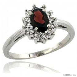 10k White Gold Garnet Diamond Halo Ring Oval Shape 1.2 Carat 6X4 mm, 1/2 in wide