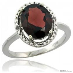 10k White Gold Diamond Halo Garnet Ring 2.4 carat Oval shape 10X8 mm, 1/2 in (12.5mm) wide