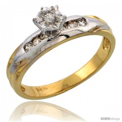 14k Gold Diamond Engagement Ring w/ Rhodium Accent, w/ 0.17 Carat Brilliant Cut Diamonds, 1/8 in. (3.5mm) wide