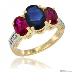 10K Yellow Gold Ladies 3-Stone Oval Natural Blue Sapphire Ring with Ruby Sides Diamond Accent