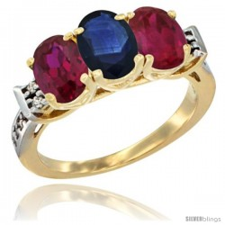 10K Yellow Gold Natural Blue Sapphire & Ruby Sides Ring 3-Stone Oval 7x5 mm Diamond Accent