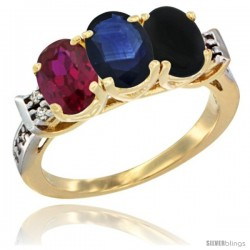 10K Yellow Gold Natural Ruby, Blue Sapphire & Black Onyx Ring 3-Stone Oval 7x5 mm Diamond Accent