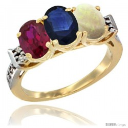 10K Yellow Gold Natural Ruby, Blue Sapphire & Opal Ring 3-Stone Oval 7x5 mm Diamond Accent