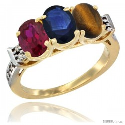 10K Yellow Gold Natural Ruby, Blue Sapphire & Tiger Eye Ring 3-Stone Oval 7x5 mm Diamond Accent