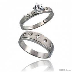 Sterling Silver 2-Piece CZ Ring Set ( 4mm Engagement Ring & 6mm Man's Wedding Band )