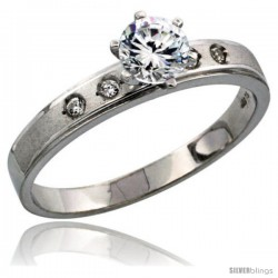 Sterling Silver Solitaire CZ Engagement Ring, 5/32 in. (4 mm) wide -Style Agcz505er