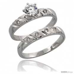 Sterling Silver 2-Piece CZ Engagement Ring Set, 5/32 in. (4 mm) wide -Style Agcz506e2