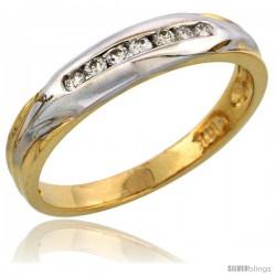 14k Gold Ladies' Diamond Band w/ Rhodium Accent, w/ 0.13 Carat Brilliant Cut Diamonds, 5/32 in. (4mm) wide