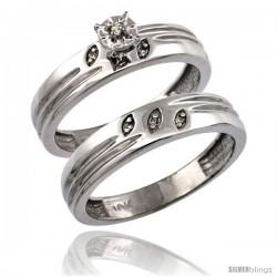 14k White Gold 2-Pc Diamond Engagement Ring Set w/ 0.049 Carat Brilliant Cut Diamonds, 5/32 in. (4.5mm) wide