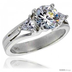 Sterling Silver 1.25 Carat Size Brilliant Cut Cubic Zirconia Bridal Ring -Style Rcz359