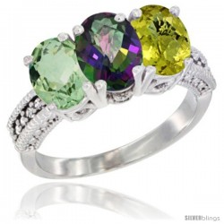 14K White Gold Natural Green Amethyst, Mystic Topaz & Lemon Quartz Ring 3-Stone 7x5 mm Oval Diamond Accent