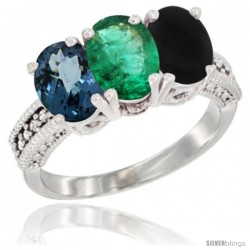 10K White Gold Natural London Blue Topaz, Emerald & Black Onyx Ring 3-Stone Oval 7x5 mm Diamond Accent