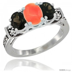 14K White Gold Natural Coral & Smoky Topaz Ring 3-Stone Oval with Diamond Accent