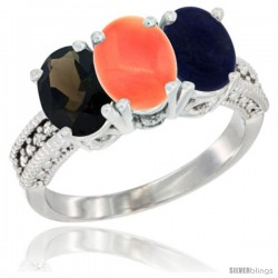 14K White Gold Natural Smoky Topaz, Coral & Lapis Ring 3-Stone 7x5 mm Oval Diamond Accent