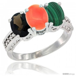 14K White Gold Natural Smoky Topaz, Coral & Malachite Ring 3-Stone 7x5 mm Oval Diamond Accent