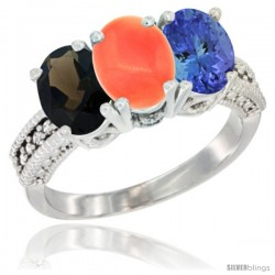 14K White Gold Natural Smoky Topaz, Coral & Tanzanite Ring 3-Stone 7x5 mm Oval Diamond Accent