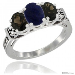 14K White Gold Natural Lapis & Smoky Topaz Ring 3-Stone Oval with Diamond Accent