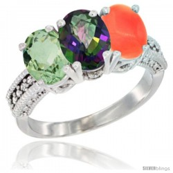 14K White Gold Natural Green Amethyst, Mystic Topaz & Coral Ring 3-Stone 7x5 mm Oval Diamond Accent