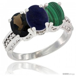 14K White Gold Natural Smoky Topaz, Lapis & Malachite Ring 3-Stone 7x5 mm Oval Diamond Accent