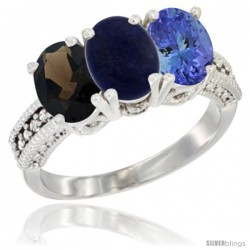 14K White Gold Natural Smoky Topaz, Lapis & Tanzanite Ring 3-Stone 7x5 mm Oval Diamond Accent