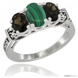 14K White Gold Natural Malachite & Smoky Topaz Ring 3-Stone Oval with Diamond Accent