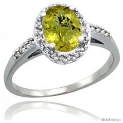14k White Gold Diamond Lemon Quartz Ring Oval Stone 8x6 mm 1.17 ct 3/8 in wide