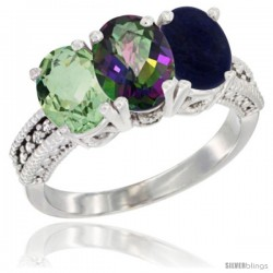 14K White Gold Natural Green Amethyst, Mystic Topaz & Lapis Ring 3-Stone 7x5 mm Oval Diamond Accent