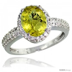 14k White Gold Diamond Lemon Quartz Ring Oval Stone 9x7 mm 1.76 ct 1/2 in wide