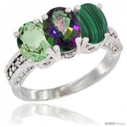 14K White Gold Natural Green Amethyst, Mystic Topaz & Malachite Ring 3-Stone 7x5 mm Oval Diamond Accent