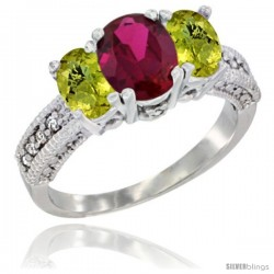 14k White Gold Ladies Oval Natural Ruby 3-Stone Ring with Lemon Quartz Sides Diamond Accent