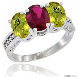 14K White Gold Natural Ruby Ring with Lemon Quartz 3-Stone 7x5 mm Oval Diamond Accent