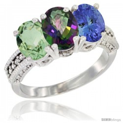 14K White Gold Natural Green Amethyst, Mystic Topaz & Tanzanite Ring 3-Stone 7x5 mm Oval Diamond Accent