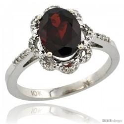 10k White Gold Diamond Halo Garnet Ring 1.65 Carat Oval Shape 9X7 mm, 7/16 in (11mm) wide