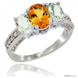 14k White Gold Ladies Oval Natural Citrine 3-Stone Ring with Green Amethyst Sides Diamond Accent