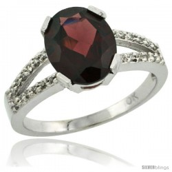 10k White Gold and Diamond Halo Garnet Ring 2.4 carat Oval shape 10X8 mm, 3/8 in (10mm) wide