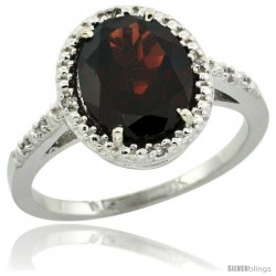 10k White Gold Diamond Garnet Ring 2.4 ct Oval Stone 10x8 mm, 1/2 in wide -Style Cw910111