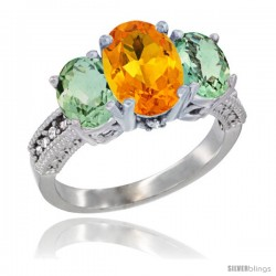 14K White Gold Ladies 3-Stone Oval Natural Citrine Ring with Green Amethyst Sides Diamond Accent