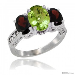 10K White Gold Ladies Natural Peridot Oval 3 Stone Ring with Garnet Sides Diamond Accent